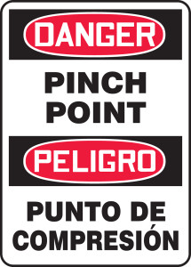 "Bilingual OSHA Safety Sign - DANGER: Pinch Point, 20"" x 14"", Pack/10"