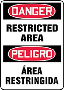 "Bilingual OSHA Safety Sign - DANGER: Restricted Area, 20"" x 14"", Pack/10"