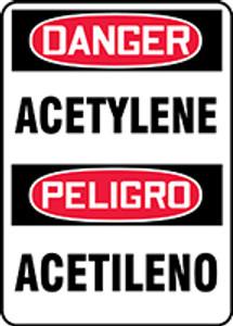 "Bilingual OSHA Safety Sign - DANGER: Acetylene, 20"" x 14"", Pack/10"
