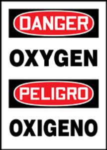 "Bilingual OSHA Safety Sign - DANGER: Oxygen, 20"" x 14"", Pack/10"