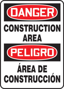 "Bilingual OSHA Safety Sign - DANGER: Construction Area, 20"" x 14"", Pack/10"