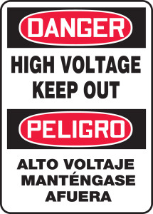 """Bilingual OSHA Safety Sign - DANGER: High Voltage Keep Out, 20"""" x 14"""", Pack/10"""
