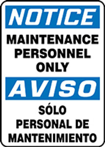 """Bilingual OSHA Safety Sign - NOTICE: Authorized Personnel Only, 20"""" x 14"""", Pack/10"""