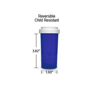 Blue Pharmacy Vials, Reversible / Child Resistant Caps, 40 dram (2.5 oz)