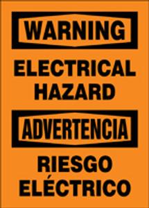 "Bilingual OSHA Safety Sign: Electrical Hazard, 20"" x 14"", Pack/10"