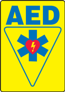 "Safety Sign: AED, 20"" x 14"", Pack/10"