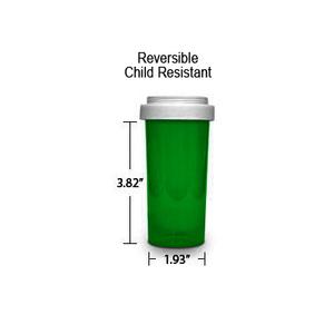 Green Pharmacy Vials, Reversible / Child Resistant Caps, 40 dram (2.5 oz)
