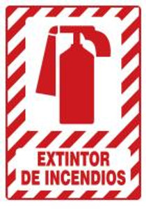 "Safety Sign: Fire Extinguisher, 20"" x 14"", Pack/10"
