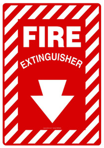 "Safety Sign: Fire Extinguisher (Arrow), 20"" x 14"", Pack/10"
