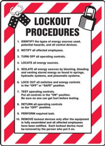 "Lockout/Tagout Sign: Lockout Procedures List, 20"" x 14"", Pack/10"