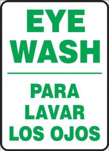 """Bilingual Safety Sign-Eye Wash, Lavar Ojos, 20"""" x 14"""", Each"""