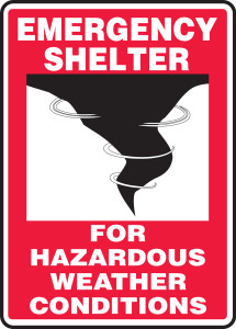 "Emergency Shelter Signs: For Hazardous Weather Conditions, 24"" x 18"", Pack/10"