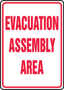 """Safety Sign: Evacuation Assembly Area, 24"""" x 18"""", Pack/10"""