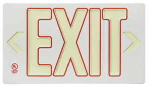 Globrite Eco Exit Sign in White with Red Color with Bracket