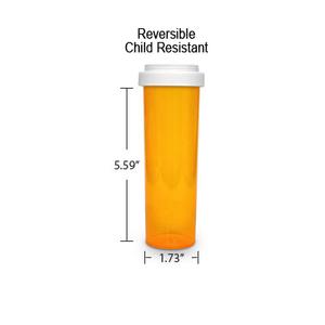 Amber Pharmacy Vials, Reversible / Child Resistant Caps, 60 dram (3.75 oz)