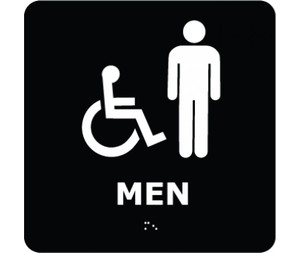 Message & Graphic Ada Braille Handicapped Men Entrance Sign Symbol