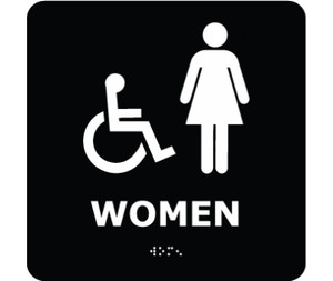 Message & Graphic Ada Braille Handicapped Women Entrance Sign Symbol