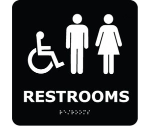 Message & Graphic Ada Braille Restrooms Symbol Sign