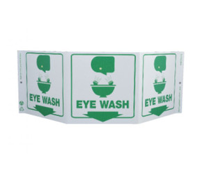 """First Aid Type Message & Graphic Green Work Eye Wash Sign, 7.5"""" x 20"""""""