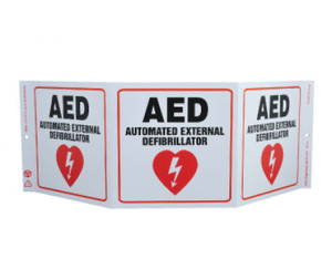"""First Aid Type Message & Graphic Green Work AED Sign, 7.5"""" x 20"""""""