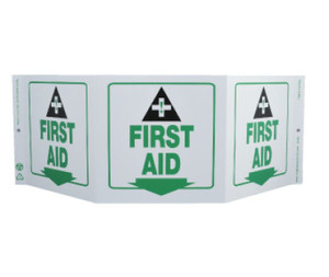 "Message & Graphic Green Work First Aid Sign, 7.5"" x 20"""