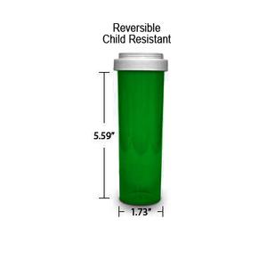 Green Pharmacy Vials, Reversible / Child Resistant Caps, 60 dram (3.75 oz)