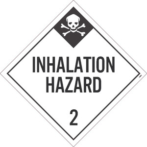 "Message & Graphic Card Stock Inhalation Hazard 2 Dot Placard Sign, 10.75"" x 10.75"""