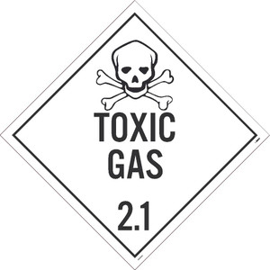 """Adhesive Backed Vinyl Toxic Gas 2.1 Dot Placard Sign Placard type Sign, 10.75"""" x 10.75"""""""