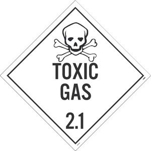 "Pressure Sensitive Removable Vinyl 0.0045 Toxic Gas 2.1 Dot Placard type Sign, 10.75"" x 10.75"""