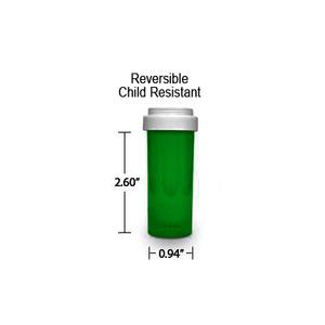 Green Pharmacy Vials, Reversible / Child Resistant Caps, 8 dram (1/2 oz)
