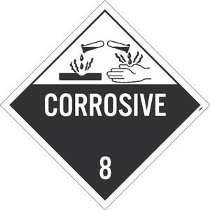 NMC DL12BUV100 Corrosive 8 Graphic Dot Placard Sign
