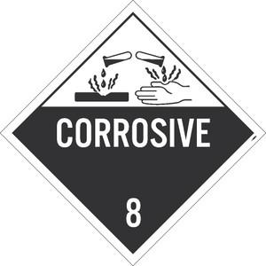 "Corrosive 8 Dot Placard Sign Unrippable Vinyl, 10.75"" x 10.75"""
