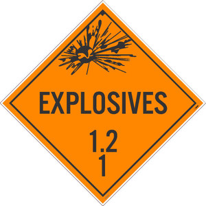 "Explosives 1.2 1 Dot Sign Placard Stock, 10.75"" x 10.75"""