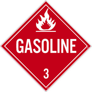"Gasoline 3 Dot Placard Sign Chemical Resistant, 10.75"" x 10.75"""