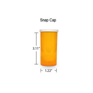 Amber Pharmacy Vials, Snap Off Caps, 16 dram (1 oz)