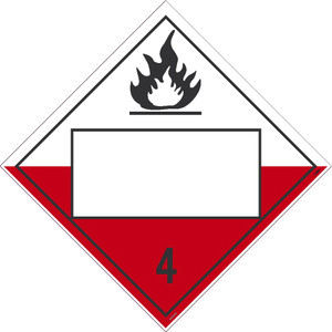 """4 Flammable Solids Blank Placard Sign Adhesive Backed Vinyl, 10.75"""" X 10.75"""""""
