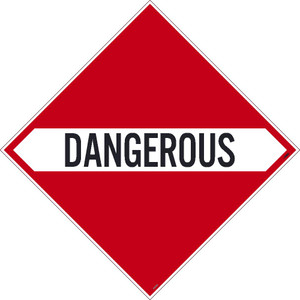 "Dangerous Dot Placard Sign Adhesive Backed Vinyl, 10.75"" X 10.75"""