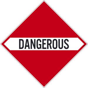 "Dangerous Dot Placard Sign Unrippable Vinyl, 10.75"" X 10.75"""