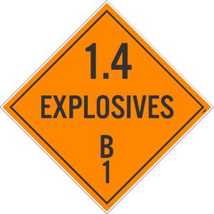 "1.4 Explosives B1 Dot Placard Sign Unrippable Vinyl, 10.75"" X 10.75"""