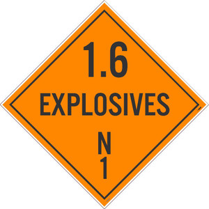 "1.6 Explosives N1 Dot Placard Sign Unrippable Vinyl, 10.75"" X 10.75"""