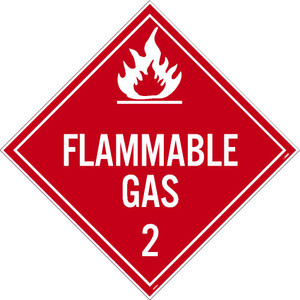Flammable Gas 2 Dot Placard Sign Pressure Sensitive Removable Vinyl .0045