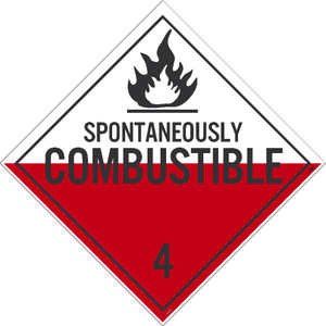 "Spontaneously Combustible 4 Dot Placard Sign Unrippable Vinyl, 10.75"" X 10.75"""