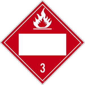 "3 Flammable Liquids Blank Placard Sign Adhesive Backed Vinyl, 10.75"" X 10.75"""