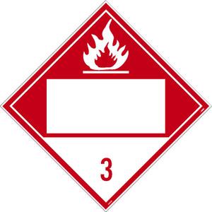 "3 Flammable Liquids Blank Dot Placard Sign Adhesive Backed Vinyl, 10.75"" X 10.75"""