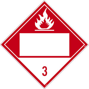 "3 Flammable Liquids Blank Dot Placard Sign Unrippable Vinyl, 10.75"" X 10.75"""