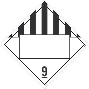 "9 Dangerous Goods Blank Dot Placard Sign Unrippable Vinyl, 10.75"" X 10.75"""