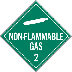 """Non-flammable Gas 2 Dot Placard Sign Adhesive Backed Vinyl, 10.75"""" X 10.75"""""""