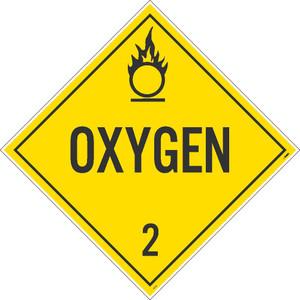 "Oxygen 2 Dot Placard Sign Unrippable Vinyl, 10.75"" X 10.75"""