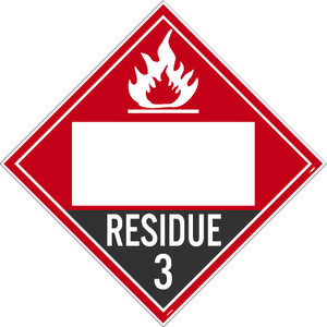 """Residue 3 Flammable Liquids Placard Sign Adhesive Backed Vinyl, 10.75"""" X 10.75"""""""