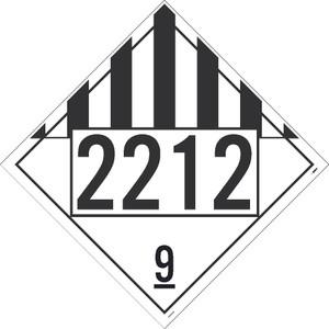 "2212 9 Dangerous Goods Dot Placard Sign Adhesive Backed Vinyl, 10.75"" X 10.75"""